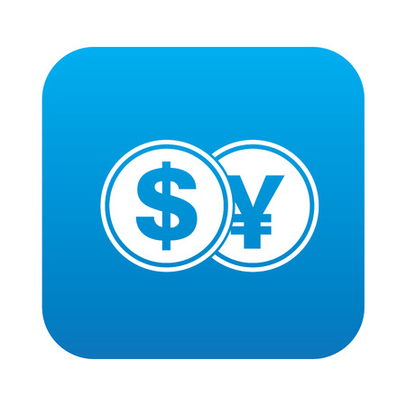 refresh rate: Dollar exchange icon on blue button background,clean vector
