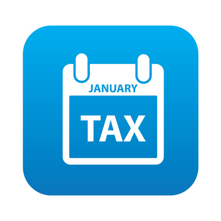 Tax icon on blue button background,clean vector Vector