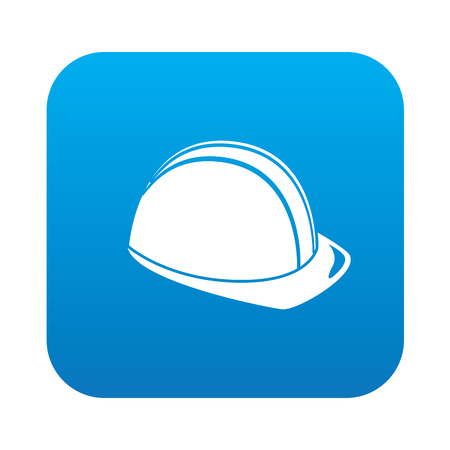 hard cap: Safety hat icon on blue button background,clean vector Illustration