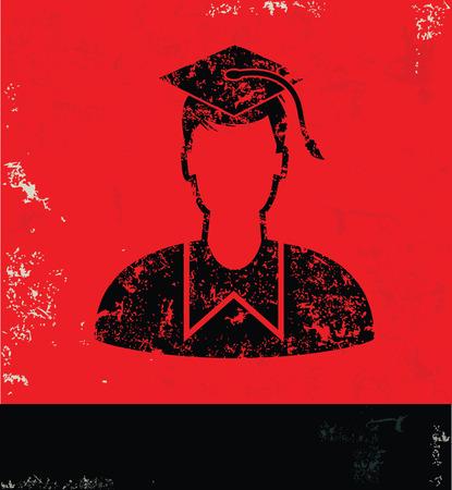 the alumnus: Student design on red background,grunge vector