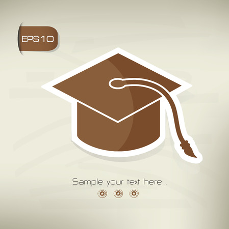 credential: Hat,education symbol,sticker design,brown version,clean vector
