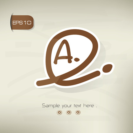 commenting: Grade A symbol,sticker design,brown version,clean vector