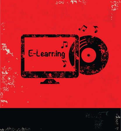 self study: E-learning design on red background,grunge vector