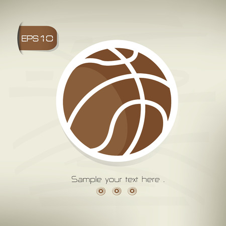 Basketball symbol,sticker design,brown version,clean vector