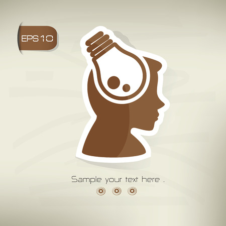 Light bulb symbol,sticker design,brown version,clean vector
