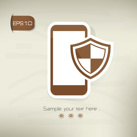 Mobile security on brown background,clean vector