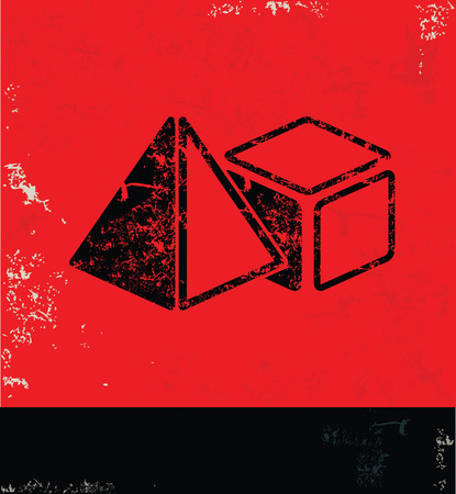 octahedral: Geometry design on red background,grunge vector