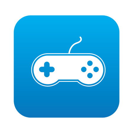 portable console: Game icon on blue background,clean vector