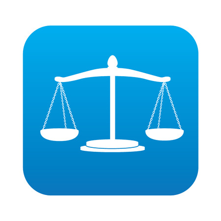 scale of justice: Justice scale icon on blue background,clean vector Illustration