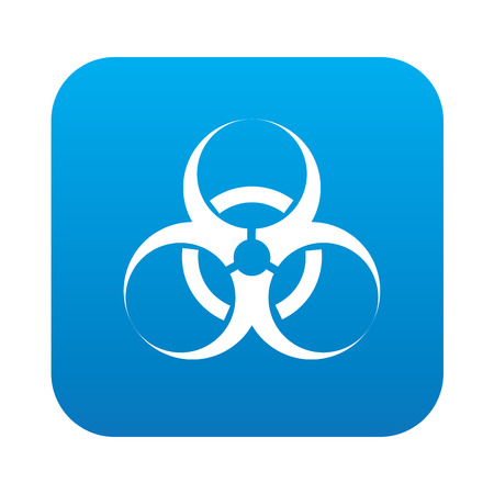 biological warfare: Bio-hazard on blue button background,clean vector