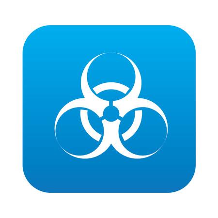 riesgo biologico: Bio-peligro en el bot�n azul de fondo, vector limpio Vectores