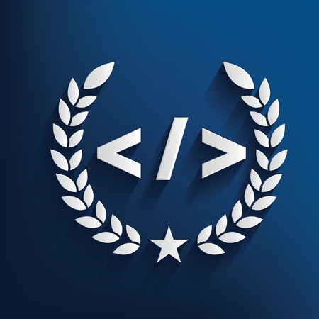 stylesheet: Coding symbol on blue background,clean vector Illustration