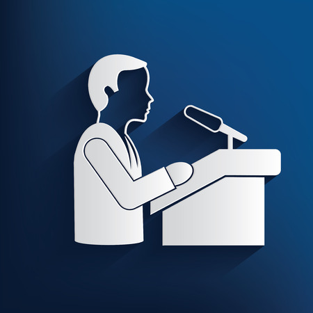 orator: Man Announce design on blue background