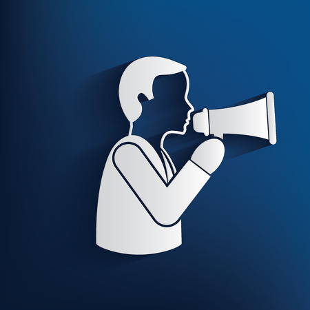 announce: Man announce with Megaphone design on blue background