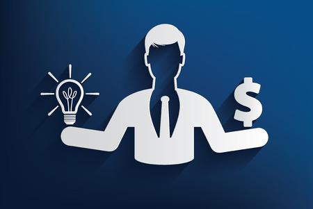 bestechung: Mann mit Idee und Geld-Design auf blauem Hintergrund