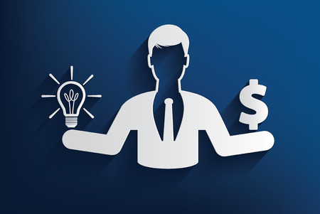 man with Idea and money design on blue background