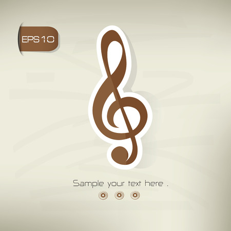 the song: Song symbol,sticker design,brown version,clean vector