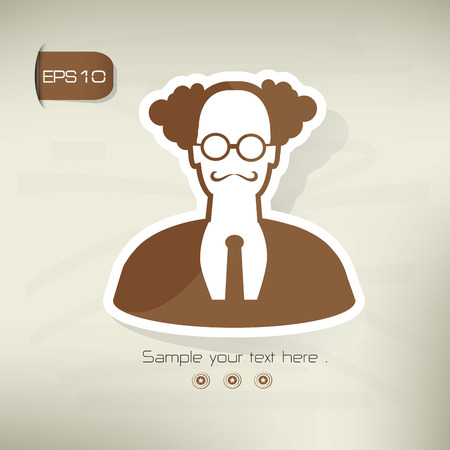 Old scientist symbol sticker design, brown version