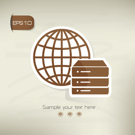 Database on brown background,clean vector