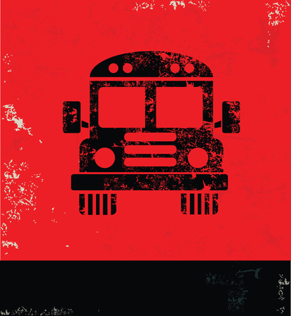 Bus design on red background,grunge vector Ilustração
