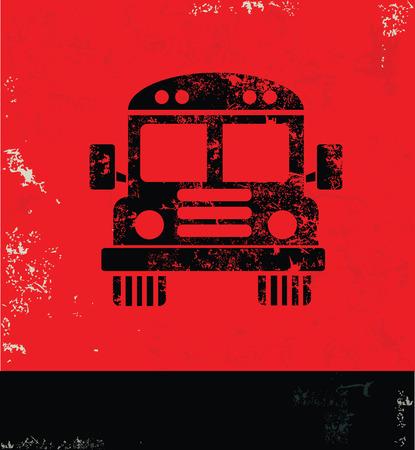 vintagern: Bus design on red background,grunge vector Illustration