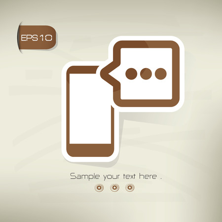 hands free phones: Chat on brown background,clean vector