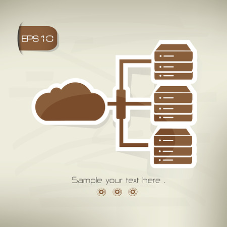 vectorrn: Cloud computing icon on brown background,clean vector