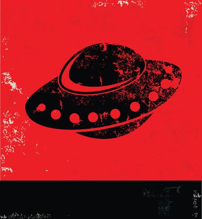 elemental: UFO design on red background,grunge vector