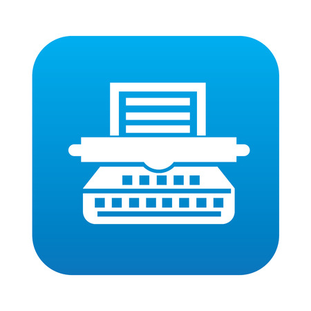 multifunction printer: Printer icon on blue background,clean vector Illustration