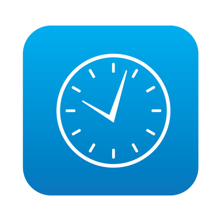 Clock icon on blue background,clean vector Vector