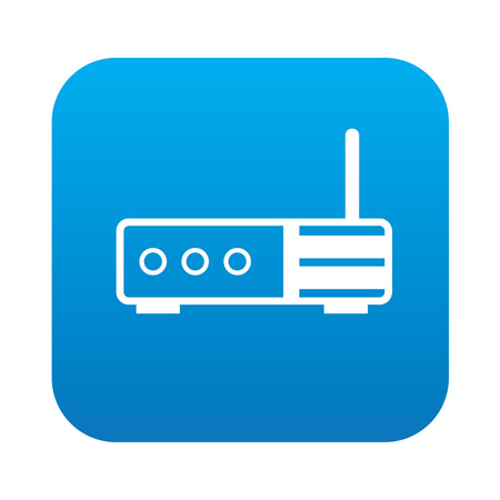 Router icon on blue background,clean vector