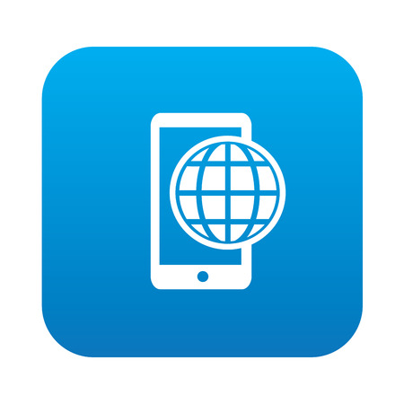 Mobile global on blue button background,clean vector Vector