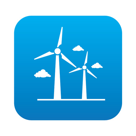 Wind turbine on blue button background,clean vector Vector