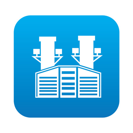 industrial complex: Industry on blue button background,clean vector