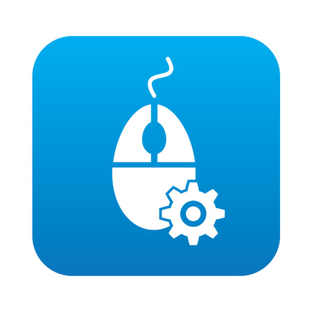 mouse click: Mouse click on blue button background,clean vector
