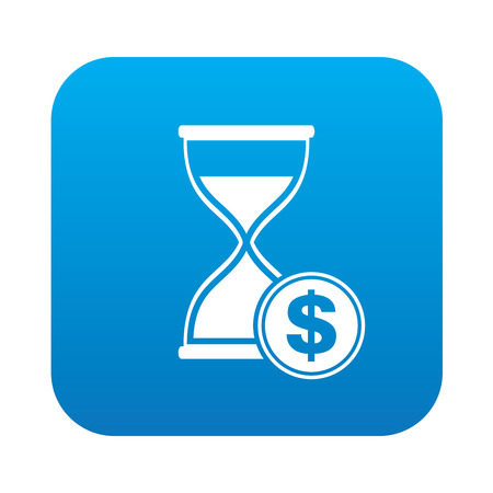 trickle: Hourglass symbol on blue background,clean vector