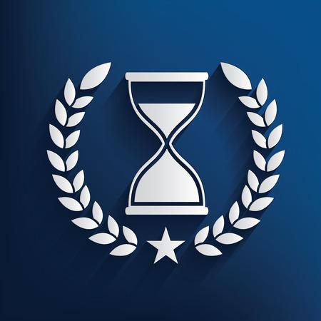 metering: Hourglass badge on blue background,clean vector