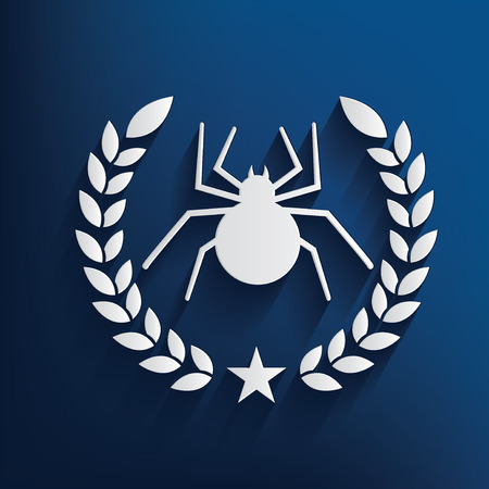 spidery: Spider symbol on blue background,clean vector Illustration
