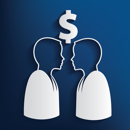 purchasing manager: Money concept on blue background,clean vector