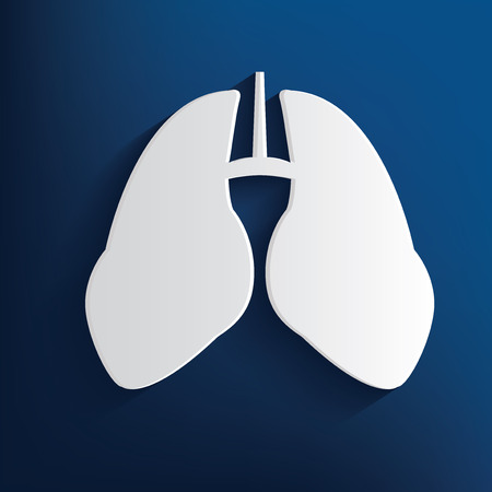 flue: Lung design on blue background,clean vector Illustration