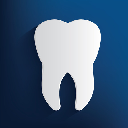 carious: Tooth design on blue background,clean vector