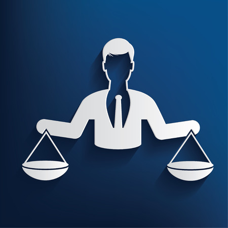 scale of justice: Justice scale,human resource design on blue background,clean vector