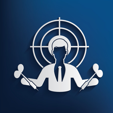 bull's eye: Goal,human resource design on blue background,clean vector Illustration