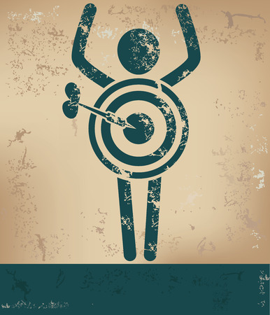 penetrating: Target concept,human resource design on old background,grunge vector