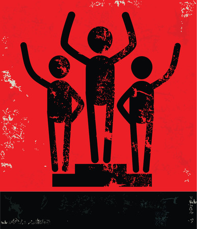 cooperate: Teamwork concept,human resource design on red background,grunge vector