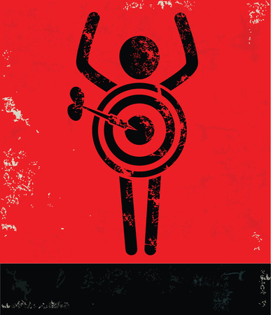 Target concept,human resource design on red background,grunge vector