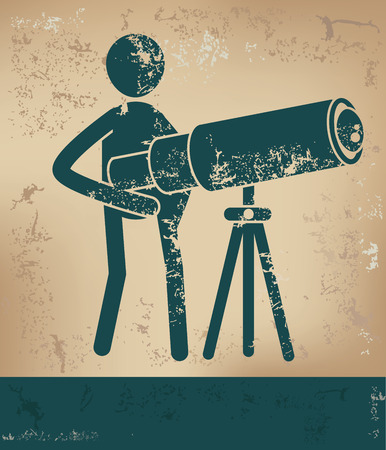 prospect: Telescope concept,human resource on old background,grunge vector