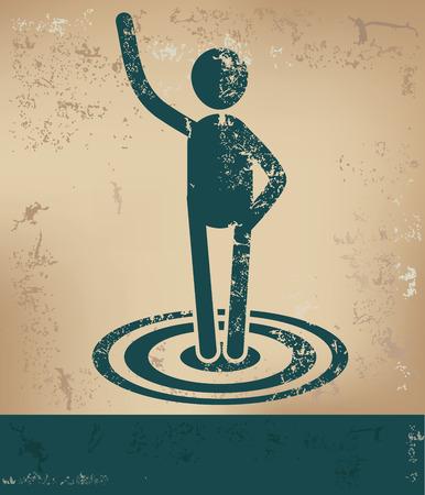 Target concept,human resource on old background,grunge vector Illustration
