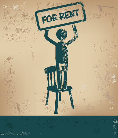 For rent concept,human resource on old background,grunge vector Vector