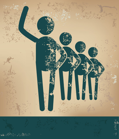 Teamwork concept,human resource design on old background,grunge vector
